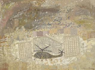 """FRANCISCO PEINADO. Helicóptero (Políptico Mike Mau """"Invasor""""), 2007-08. 5 piezas de 66 x 88 x 3,2 cm c/u. Óleo sobre cartón y grafito."""