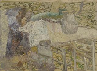 """FRANCISCO PEINADO. Impresiones impresionistas, jardín de casa (Políptico Mike Mau """"Invasor""""), 2007-08. 5 piezas de 66 x 88 x 3,2 cm c/u. Óleo sobre cartón y grafito."""