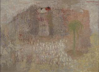 """FRANCISCO PEINADO. África (Políptico Mike Mau """"Invasor""""), 2007-08. 5 piezas de 66 x 88 x 3,2 cm c/u. Óleo sobre cartón y grafito."""