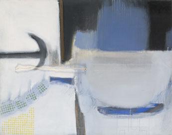 ALBERT RÀFOLS-CASAMADA. Sin título, 1971. 114 x 146 cm. Colores sintéticos, cuerda, papel sobre lienzo