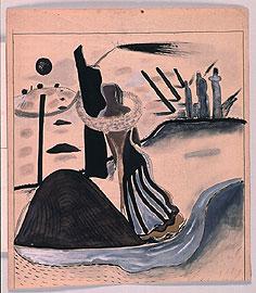 ANTONIO RODRÍGUEZ LUNA. Sin título,1933. 81 x 66 x 4 cm (con marco). Tinta china, gouache y lápiz sobre papel