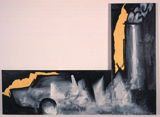 PEDRO G. ROMERO. Fábrica de coches, 1985 Acrílico sobre lienzo. 2 piezas: (1/2): 200,4 x 81,2 x 3,5 cm ; (2/2): 81 x 200,4 x 3,8 cm