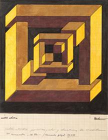 JOSÉ MARÍA YTURRALDE. Figura imposible (serie cuadrados), 1970-1971. Lápiz y tinta sobre papel milimetrado. 24 x 19 cm. c/u.