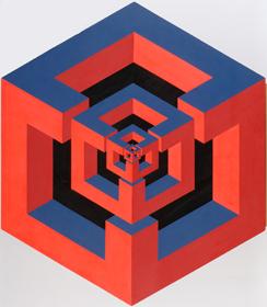 JOSÉ MARÍA YTURRALDE. Estructura, 1970. Pintura fluorescente sintética sobre madera. 138,2 x 120 cm