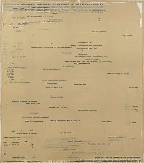 RÉMY ZAUGG. Sheet of Paper II: No. 36, 1973-1986. Serie SOP (Sheet of Paper). 200 x 175 cm. Óleo y letras serigrafiadas sobre papel adherido a tela