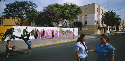 CLAUDIO ZULIÁN. Culturas urbanas. Pino Montano, 2005. Serie 3 x 2 lugares de imágenes compartidas, Nº Edición 2/2. 150 x 300 cm. Fotografía