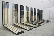 JOS� RAM�N SIERRA. Nueve paisajes de tormenta, 1974. T�cnica mixta sobre madera. 200 x 60 x 200 c/u. Colecci�n CAAC