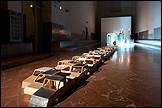 View of the exhibition Cities, like people, can be recognized by their walk at CAAC. Photo: Guillermo Mendo