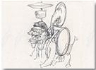 Curro González. Artista hombre-orquesta. 78 x 55 cm. Tinta sobre papel [Dibujos preparatorios Monumento al artista]