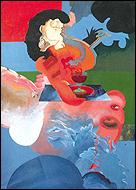 Carlos Alcolea. La camarera roja (1973). Palmira Utray collection