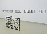 Andreas Fogarasi. Facade/Fence, 2008. Steel, enamel. 2 parts, 100,5 cm x 178,5 cm and 100,5 cm x 78,5 cm. Courtesy of the artist and Georg Kargl Fine Arts, Vienna