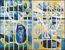Luis Gordillo. Los chinos, 1979. Acrílico sobre lienzo. 220 x 246 cm. Colección Fundación Obra Social Monte de Piedad de Madrid
