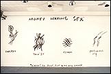 Jessica Diamond. Money Having Sex, 1988. Pintura látex sobre muro