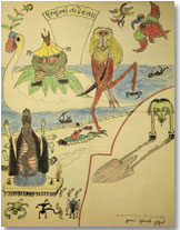 Carta con dibujo de René Daumal a Michaux, 1936