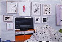 MIKI LEAL. El rincón de Tom, 2013. Acrílico y acuarela sobre papel, 152 x 220 cm