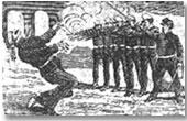 """José Guadalupe Posada: """"El fusilamiento de Bruno Martinez"""" (medidas: 15 x 24 cm)"""
