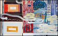 JUAN USLÉ. Ojos desatados, 1994-1995. Temple sobre tela y madera. Altura 152,8 x anchura 244,5 cm. Colección CAAC