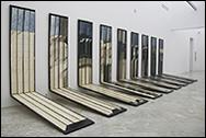 JOSÉ RAMÓN SIERRA. Nueve paisajes de tormenta, 1974. Técnica mixta sobre madera. 200 x 60 x 200 c/u. Colección CAAC