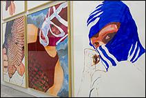 ÁNGELES AGRELA. S/T, 2003-2005. 6 pinturas acrílicas sobre papel, 200 x 150 cm. c/u.