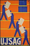SÁNDOR BORTNYIK. Ujság, 1926. Litografía, 94 x 61 cm.