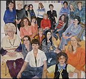 SYLVIA SLEIGH. Retrato de grupo de las artistas en residencia (A.I.R.), 1977 - 78. Óleo sobre lienzo. 193 x 208,2 cm. © The Estate of Sylvia Sleigh
