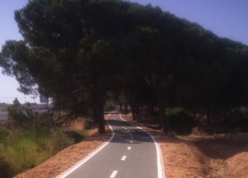 La Junta finaliza las obras de la vía ciclista entre Palos y Mazagón, en la A-494