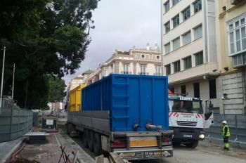 Instalados en la Alameda los tanques de bentonita para la construcción de los muros del túnel del Metro de Málaga