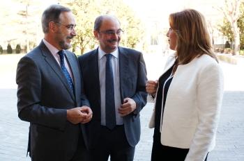 Díaz y el presidente de Aragón acuerdan desarrollar estrategias para exigir al Estado inversiones en los corredores ferroviarios