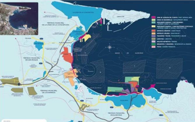 Cartografía actual del puerto de Algeciras y puertos del área dependiente de la Autoridad Portuaria de la Bahía de Algeciras