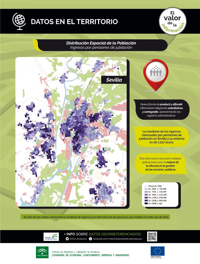Datos en el territorio. Distribución espacial de la población. Ingresos por pensiones de jubilación