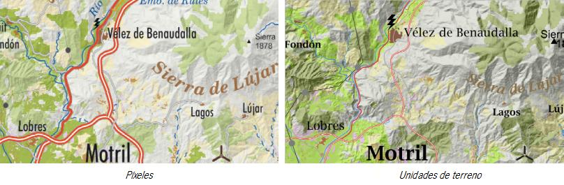 Secuencia de imágenes de SLD representados en píxeles o por unidades terreno