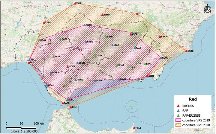 Desplazamiento horizontal anual de las estaciones de la RAP y estaciones cercanas
