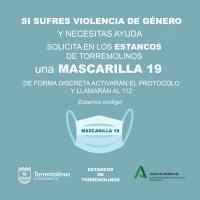 Las víctimas de violencia de género podrán solicitar ayuda en los 13 estancos de Torremolinos usando la clave 'Mascarilla 19'