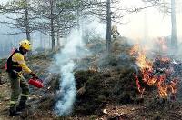 Técnico en su labor de apagar un incendio