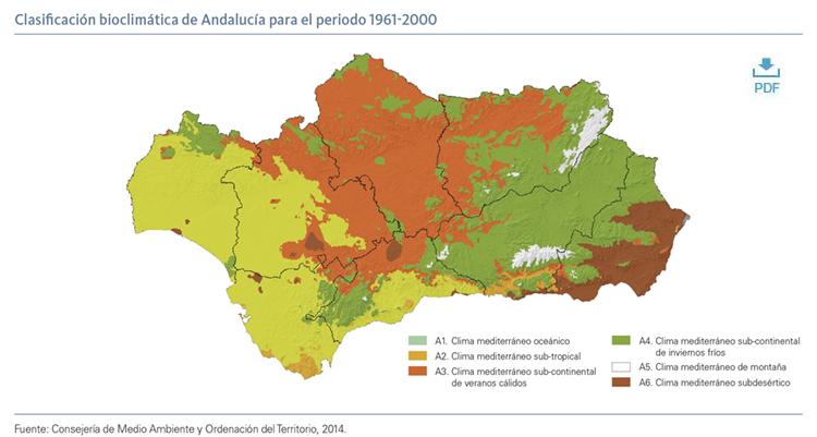 Clasificación bioclimática de Andalucía para el periodo 1961-2000