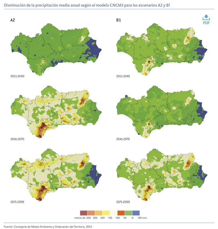 Disminución de la precipitación media anual según el modelo CNCM3 para los escenarios A2 y B1