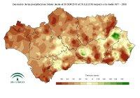 Desviación de la precipitación acumulada respecto a la normal (%)