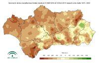 Desviación de la precipitación acumulada respecto a la normal (mm).