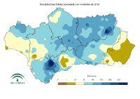 Precipitación total mensual