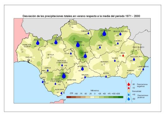 Desviación de las precipitaciones en verano respecto a la media del periodo 1971 – 2000