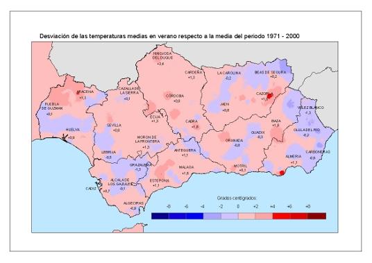 Desviación de las temperaturas medias en verano respecto a la media del periodo 1971 – 2000
