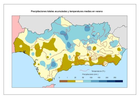 Comportamiento climatológico medio en verano: temperaturas medias y precipitaciones totales