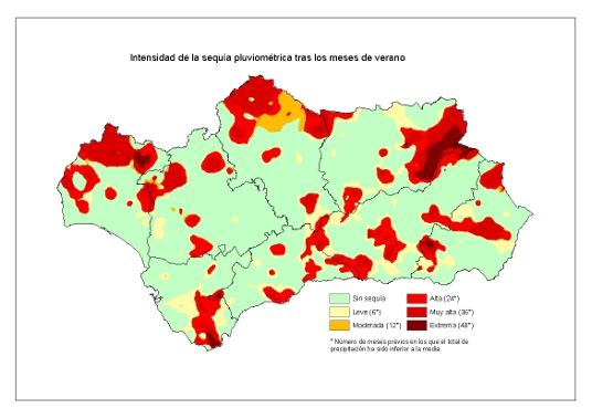 Intensidad de la sequía pluviométrica tras los meses de verano