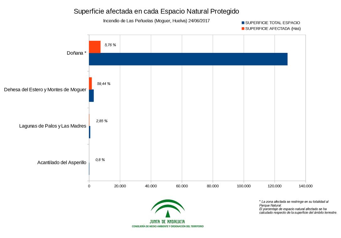 Superficie afectada en cada Espacio Natural Protegido - Gráfico