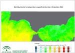 Temperatura superficial del mar (SST). Diciembre 2015