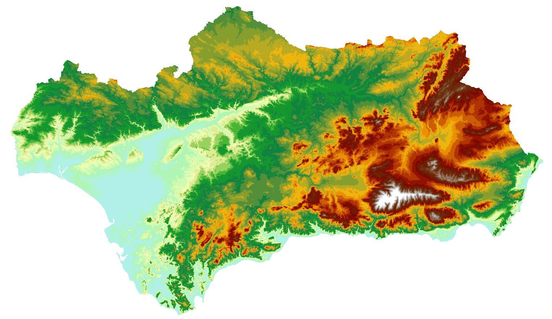 Mapa De Elevaciones Del Terreno De Andalucia Mde Red De