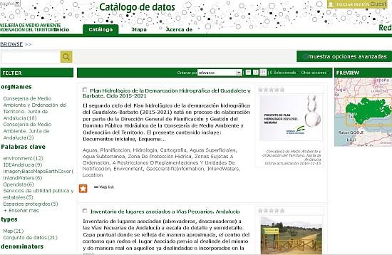 Acceso al Catálogo de la Información Ambiental de Andalucía