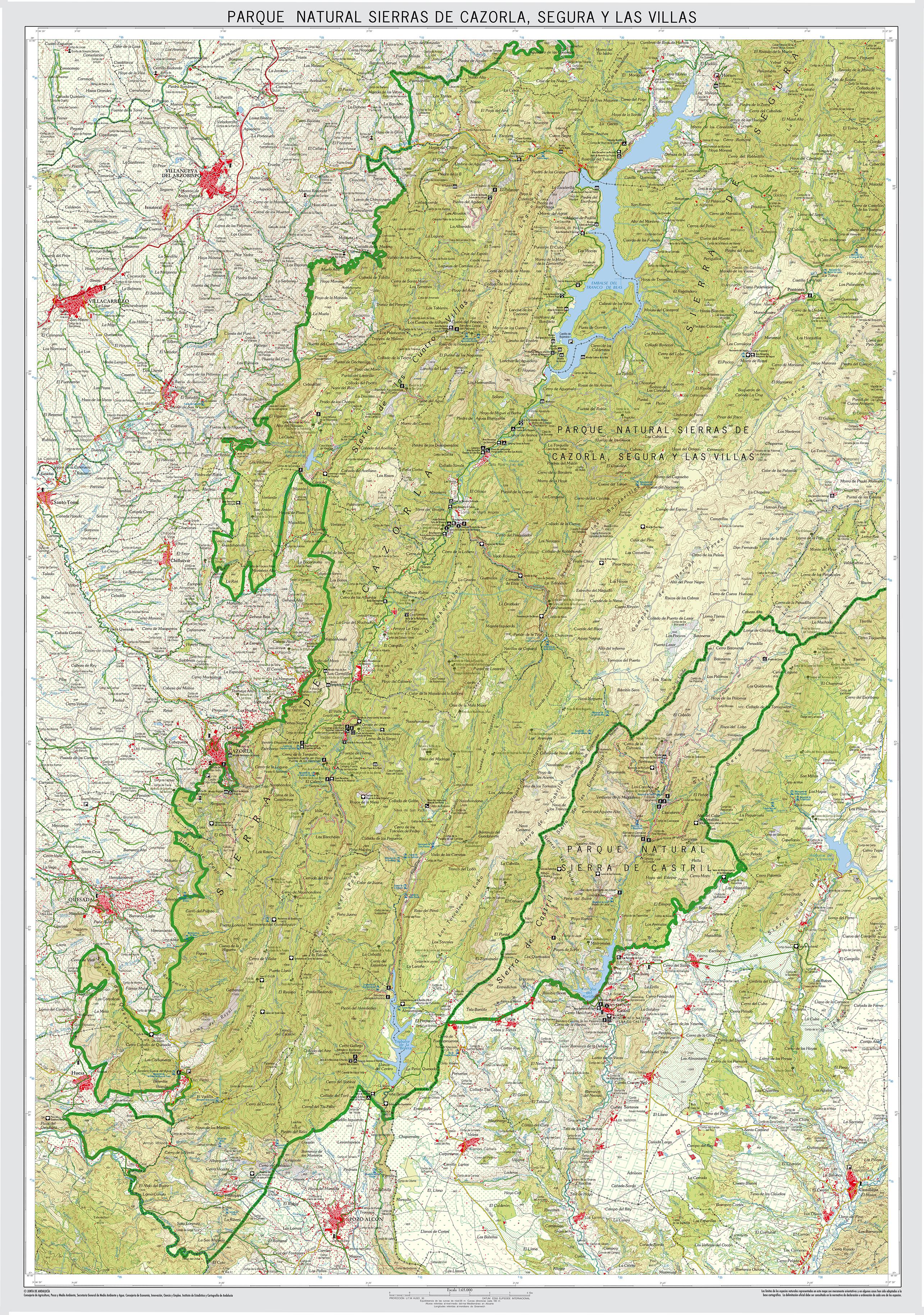 Sierra De Cazorla Y Segura Mapa.Parque Natural De Sierras De Cazorla Segura Y Las Villas