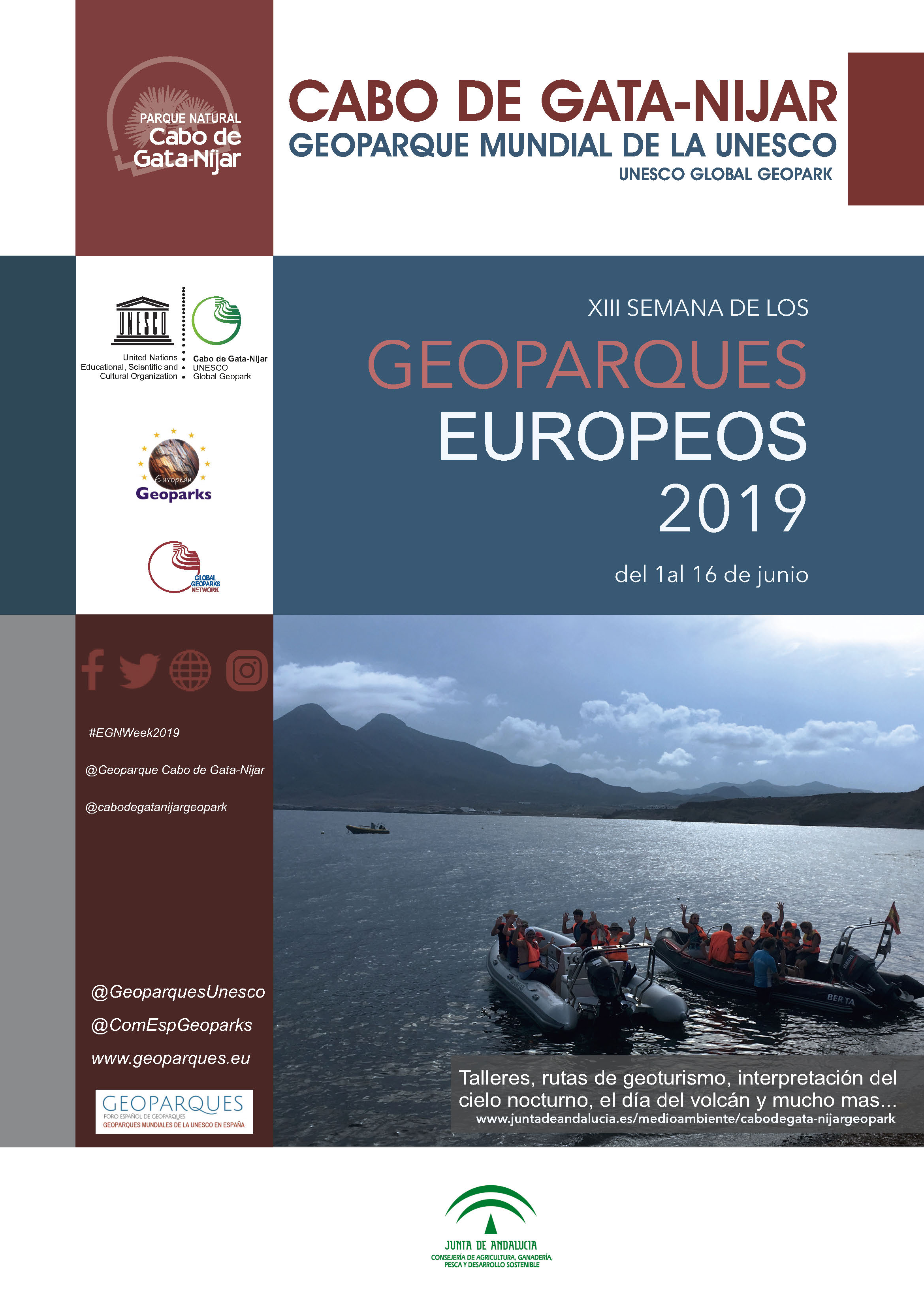Cartel de la XIII Semana de los Geoparques Europeos 2019. Cabo de Gata-Níjar
