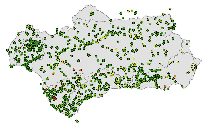 WMS Promedio de algunos parámetros representativos de la calidad de las aguas superficiales de Andalucía